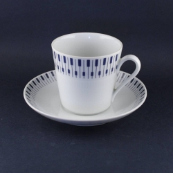 Lyngby Porcelain/リュンビュー・ポーセリン Tangent(鍵盤)模様のカップ&ソーサー Danild 64