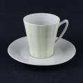 Karlskrona黄×白の縦縞 カップ&ソーサー
