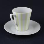 Karlskrona黄×白の縦縞 カップ&ソーサー stripes